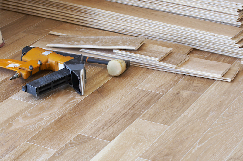 hardwood floor and tools